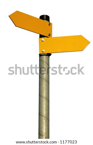 Two arrows on a pole pointing in different directions, isolated on white (clipping path included)
