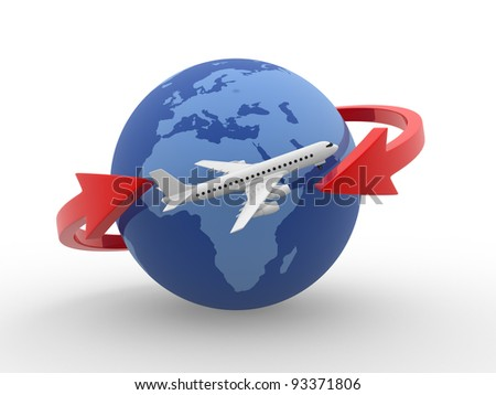 Two arrows surrounding Earth globe and a airplane flying. 3d render - stock photo