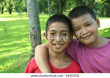 Two asian boys hanging in the park.