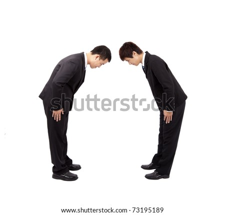 Two asian businessman with bow