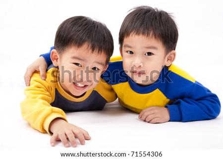 Two asian happy boys