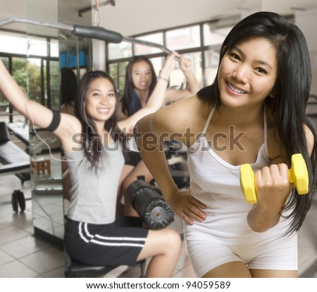 Two Asian Young Women With Exercise Equipment At The Gym