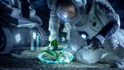 Two Astronauts Analyzing Plant Life Found on Alien Planet. Infographics Show Data about Oxygen Generation, DNA and Molecular Structure. Technological Advance and Space Exploration.