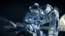 Two Astronauts in Space Suits on an Alien Planet Prepare Space Rover for Planet's Surface Exploration Expedition. Space Travel and Solar System Colonization Concept.