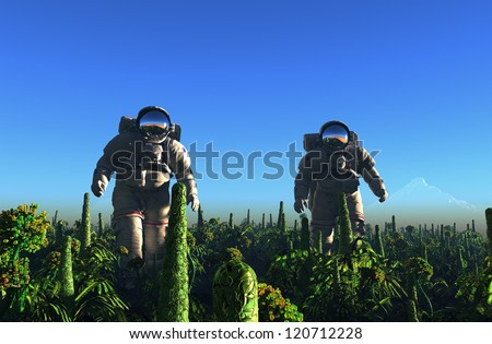 Two astronauts on the green grass.