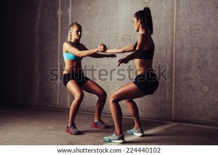 Woman training crossfit