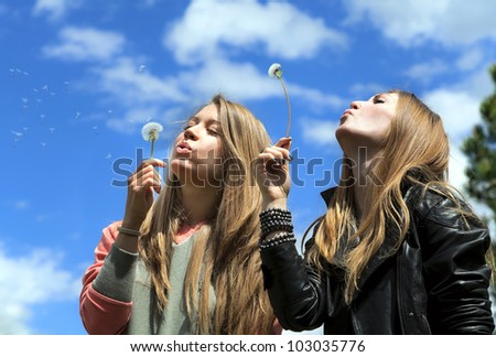 Two attractive young girls are blowing on dandelions