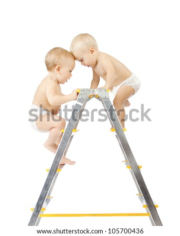Two babies climbing on stepladder and fighting for first place over white background. Competition concept. Isolated over white