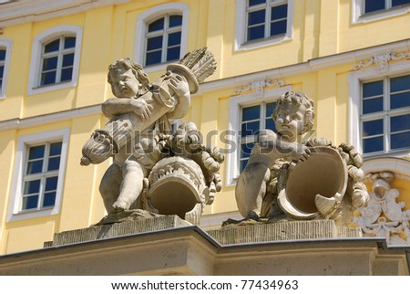 Two babies statue from Zwinger palace, Dresden, Germany