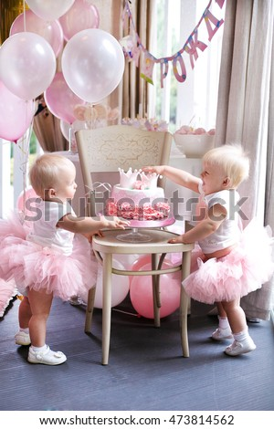Two Baby Girl Identical Twin Sisters Decorated Birthday Cake Wearing Pink Crown And Bunting Tasty