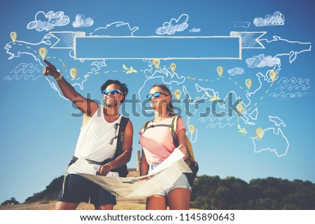 Two backpackers enjoying scenery nature view while hiking in National Park. Couple of hikers planning next way to explore holding map during travel. Infographics illustration map with top destinations #1145890643