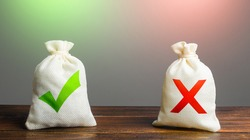 Two bags with a green check mark and a red cross. Risk planning. Advantages and disadvantages. Useful and harmful properties. Weighing decision making, evaluating profit and consequences. Choice
