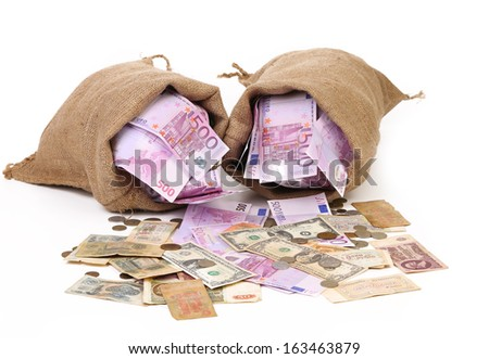 Two bags with much money. Isolated on a white background