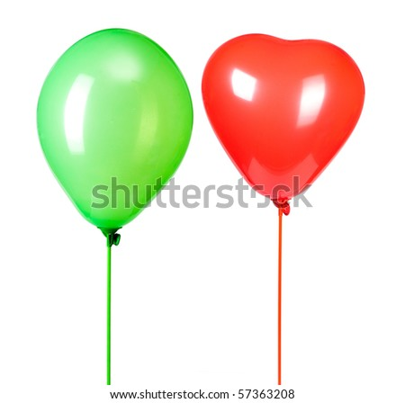 two balloons isolated on white