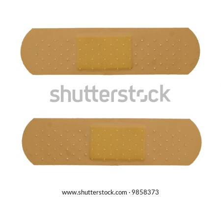 two bandaid isolated over white background