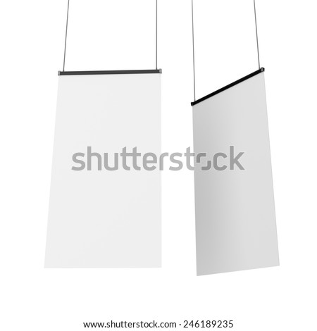 two banners or roll-ups hanging