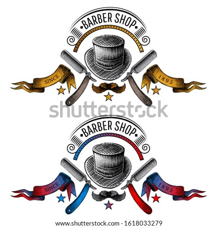 Two banners with hat and mustache in the middle of two razor in color engraving style. Vintage style for burbershop or t-shirt design