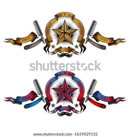 Two banners with star in the center of ribbon between of two razor in color engraving style. Vintage style for burbershop or t-shirt design