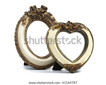 Two baroque style desktop picture frames. Oval shape and heart shaped. Paths included to place your own images inside the frames.
