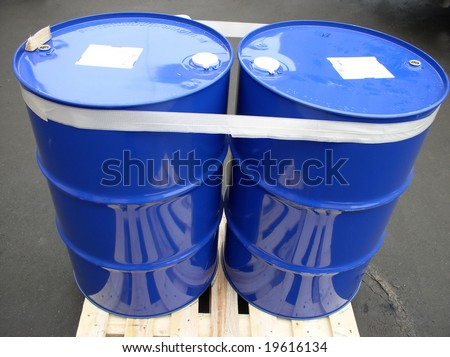 two barrels bounded by adhesive tape