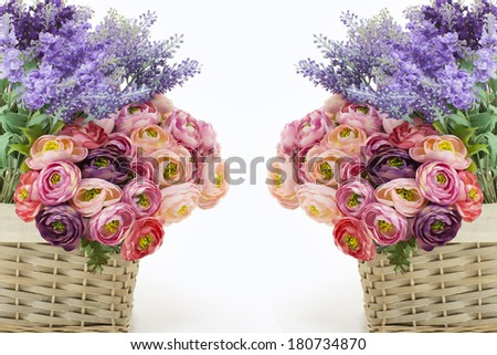 two baskets of flowers