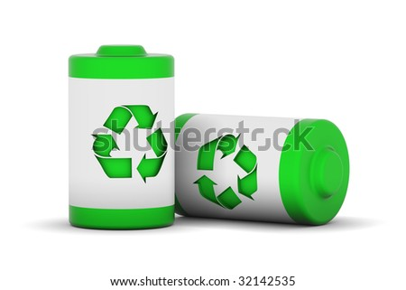 Two batteries with recycle logo