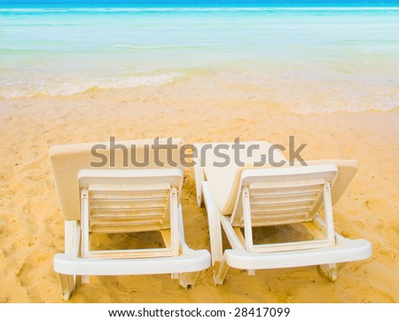 two beach beds for a couple