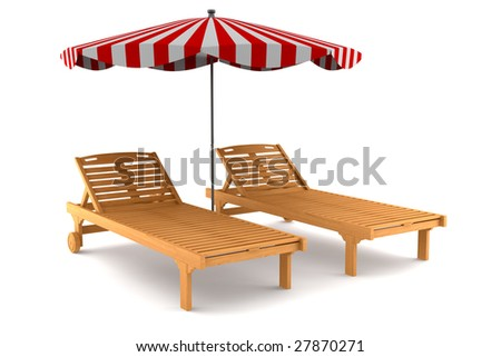 two beach chairs and umbrella isolated on white background with clipping path - stock photo