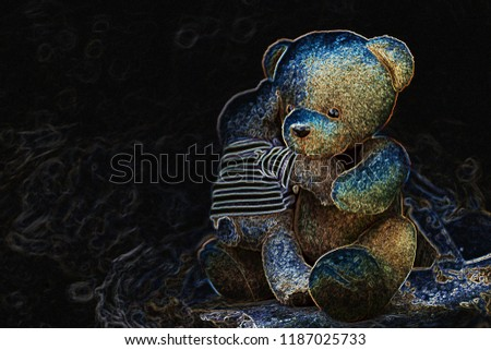 two bear dolls hug on the log with invert color effect