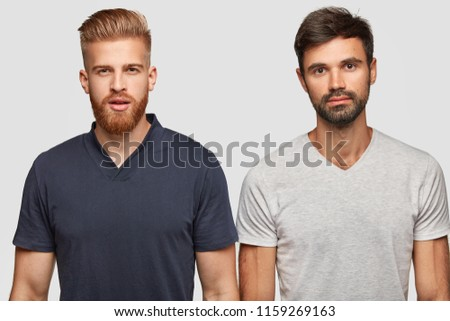 two bearded brothers in casual...