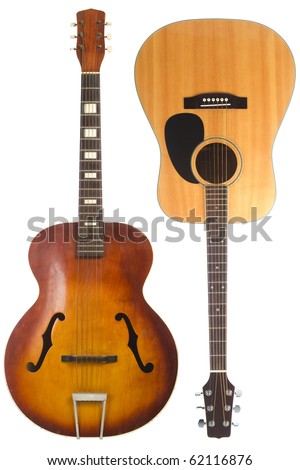 Two beautiful acoustic guitars, one antique one modern, isolated on white background