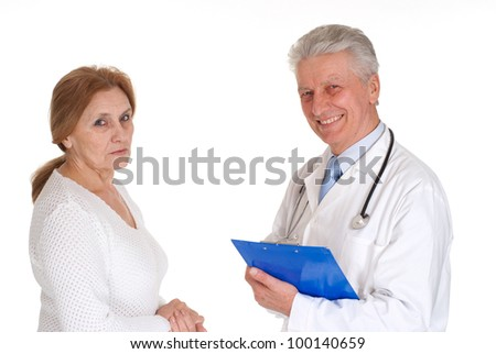Two Beautiful Caucasian doctor standing on a white background
