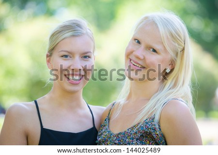 Two Beautiful Finnish Girl at Park - stock photo