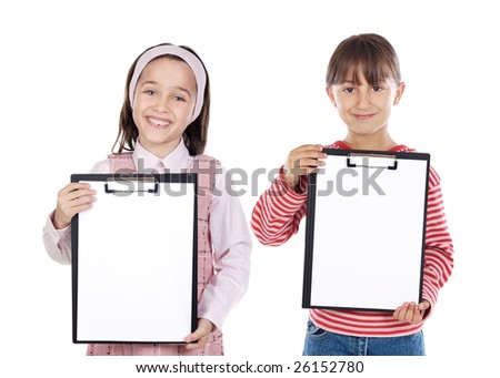 Two beautiful girls student with notepad (you can put your text)