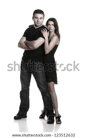 Two beautiful lovers in an artistic photo shoot