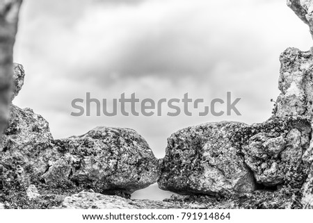 Two beautiful rocks that seem to kiss in the castle of Rocca Calascio, famous for the location of the famous movie Ladyhawke in the province of L'Aquila, Abruzzo, Italy #791914864
