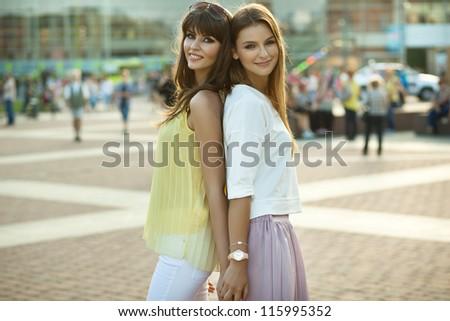 Two beautiful women - stock photo