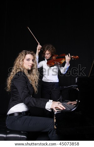 stock photo two beautiful young sexy women posing with violin and piano 45073858 ... before our eyes (36 Photos)   young actresses turned sexy women 32 ...