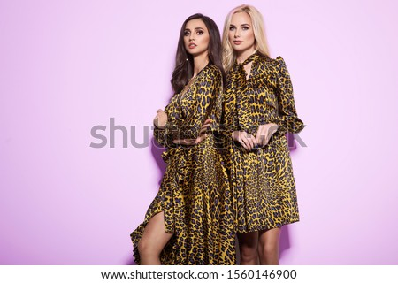 Two beautiful young women in nice animal pattern dresses, high heels, posing in a studio. Fashion glamour photo.