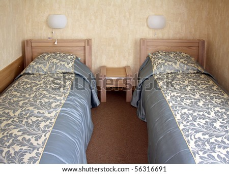 Two beds at a hotel room
