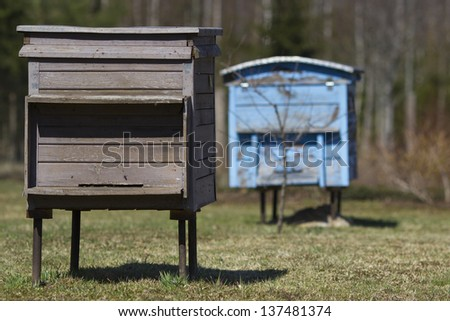Two beehives - stock photo