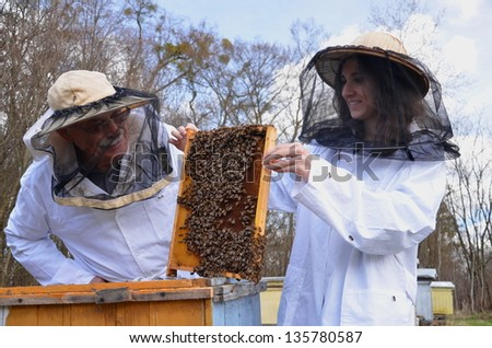 two beekeepers in apiary