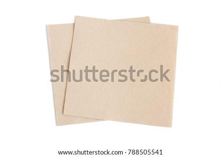 two beige paper napkin