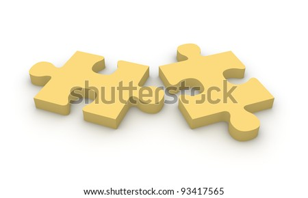 Two beige puzzle pieces