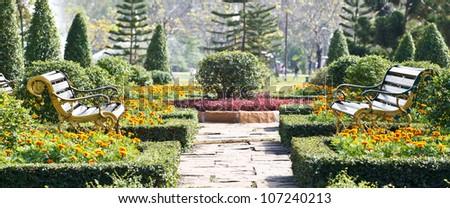 Two benches in the garden near Bangkok Thailand.