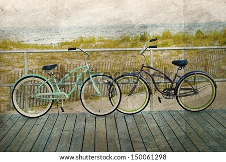 two bicycles parked on nj beach ...