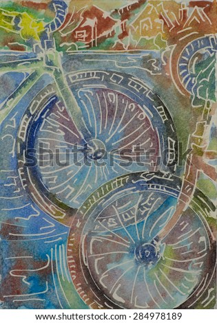 Two bicycles pass in opposite directions, front wheels only against an urban abstract background. Watercolor painting on paper.