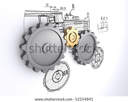 two big metallic gray and one small golden gears against a background of engineering drawings with shadow