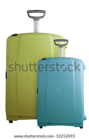 Two Big modern suitcases isolated on white - stock photo