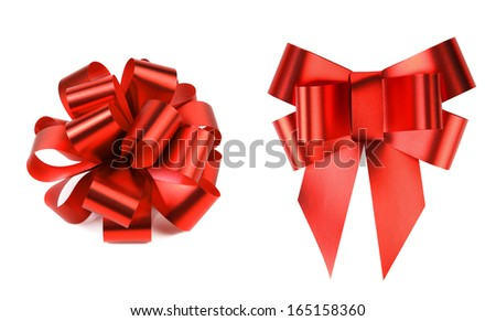 Two big red bows. Isolated on a white background.